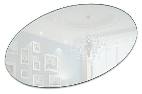 Light In The Dark 10 X 8 Inch Oval Mirror Candle Plate with Round Edge Set of ()
