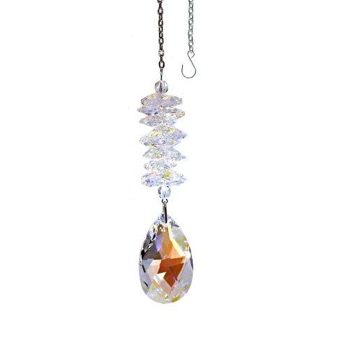(CrystalPlace Crystal Suncatcher 5 inch Ornament Aurora Borealis Almond Prism, Rainbow Maker Spiral Cascade Crystal Suncatcher Made with Swarovski Crystals)