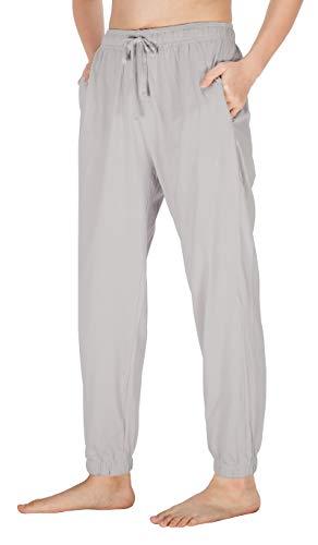 (WEWINK CUKOO Womens Pajama Pants Cotton Sleep Pants Stretch Knit Lounge Pants with Pockets (XL=US 16-18, Light Gray)