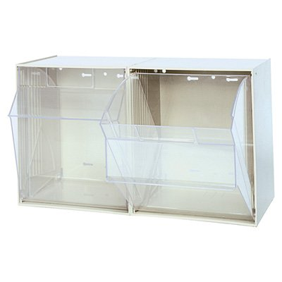 Quantum Storage Tip Out Storage Bin - 11 3/4in. x 23 5/8in. x 13 7/8in. Size, White, 2-Bin System (Out Storage Tip Bin)