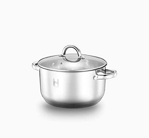 S-TING 鍋 5.5リットル - ガラス蓋と鏡面研磨仕上げ、ステンレスバイノーラルスープの鍋で16ステンレス製の鍋、重いです、 不沾鍋 鍋子 萬用鍋 炒め鍋 フライパン