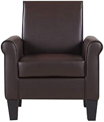 Lohoms Modern Faux Leather Accent Chair Uplostered Living Room Arm Chairs Comfy Single Sofa Chair Espresso