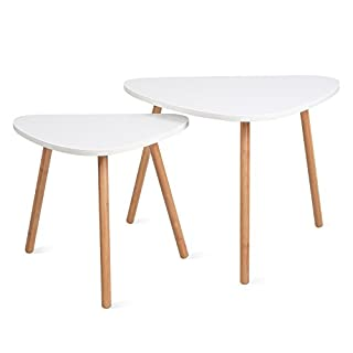 HOMFA Nesting Coffee End Tables Modern Decor Side Table for Home and Office (White, Set of 2)