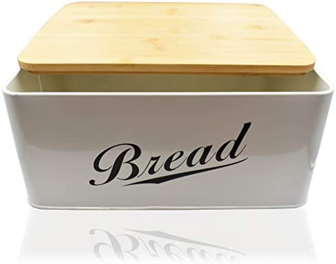 31F2LcQb7RL. AC RoyalHouse Modern Metal Bread Box with Bamboo Lid, Bread Storage, Bread Container for Kitchen Counter, Kitchen Decor Organizer, Vintage Kitchen    Perfect Size Bread Box Saves your kitchen counter space in your kitchen with the Claimed Corner Metal Bread Box. Free up limited cupboard space and keep your bread fresh, longer and looking great with this perfectly sized breadbox.