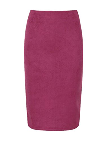 AILIENT Femme Jupe Crayon Rtro Suede Plusieurs Coloris Court Genou Jupe Elgant Classique Jupe Crayon Purple