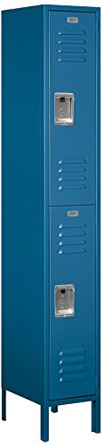 Salsbury Industries 62165BL-U Double Tier 12-Inch Wide 6-Feet High 15-Inch Deep Unassembled Standard Metal Locker, Blue (15 Inch Wide Lockers)