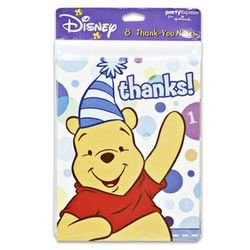 Winnie the Pooh Boy's 1st Birthday Thank You Notes w/ Env. (8ct)