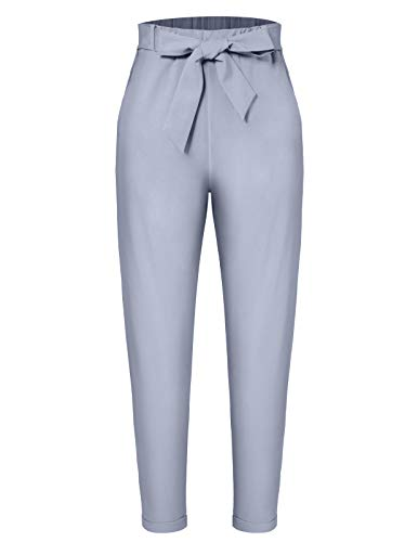 (MAVIS LAVEN Women's Casual Pants Trouser Cropped Paper Bag Waist Pants with Pockets Grey Small )
