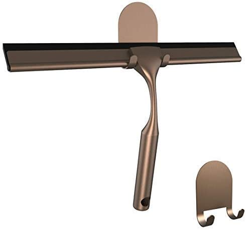 HOME SO Bathroom Squeegee, Included Hooks With 3M Adhesive Holder, Stainless Steel, Bronze