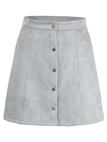 Lady Mini Button - PERSUN Women's Faux Suedette Button Closure Plain A-Line Mini Skirt (Small, Grey)