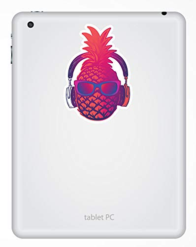 m/úsica del ordenador port/átil adolescente # 17505 2 x 10 cm Pink Party pi/ña pegatinas de vinilo 10 cm de altura