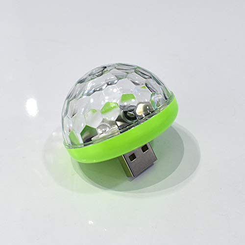 DishyKooker Mini USB Sound-Controlled Magic Ball Lamp for Car DJ Stage Android Apple Phone Green + USB Connector ()