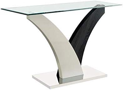 Furniture of America Tri Glass Top Console Table in White and Dark Gray
