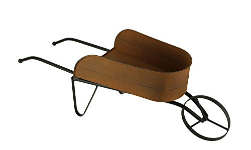 (Rusty Finish Metal Decorative Farmhouse Wheelbarrow Planter)