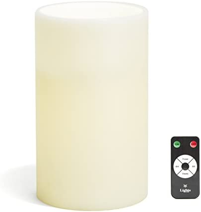 Large Ivory Wax Flameless Pillar Candle with Remote, 6 x10 , Warm White LEDs, Batteries Included – for Home Decor, Weddings, Parties and Gifts