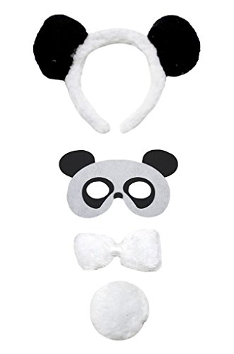 Petitebella Headband Bowtie Tail Mask Unisex Children 4pc Costume (Panda) -