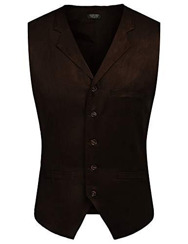 081a1eb92d5c COOFANDY Men's Suede Vest Slim Fit Jacket Casual Suit Vest Waistcoat,  Coffe, X-