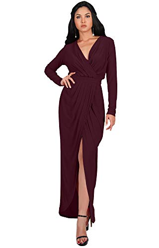 KOH KOH Plus Size Womens Long Sleeve Full Length V-Neck Sexy Wrap Empire Waist Formal Winter Fall Cocktail Wedding Evening Gown Gowns Maxi Dress Dresses