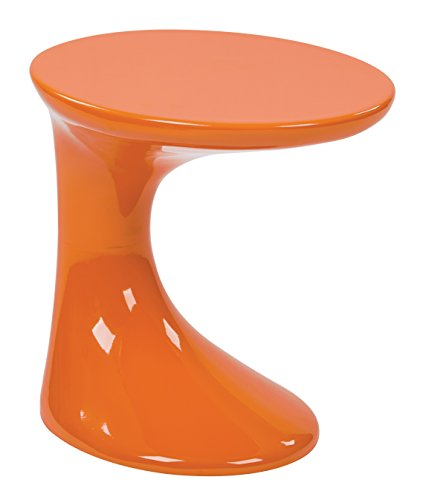 AVE SIX Slick High Gloss Finish Side Occasional Table, Orange