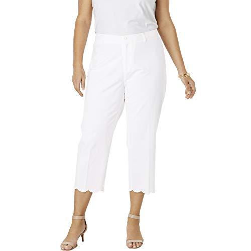 (Jessica London Women's Plus Size Capri Pants in Poplin - White Scallop Hem,)