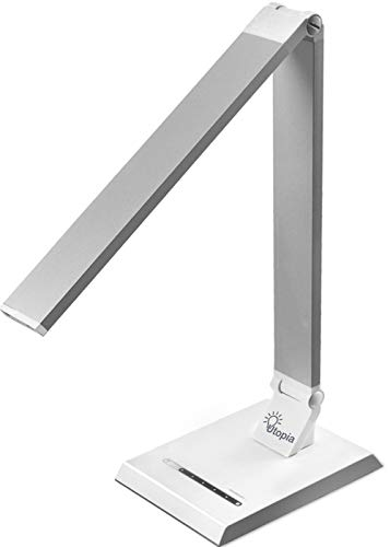 LED Desk Table Lamp – Reading Lamp with USB Charging Port – Adjustable Brightness Levels with Touch Control – Rotatable Arm and Base