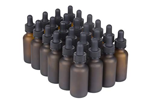 NES Natural | Empty 1 Oz Amber Glass Boston Round Bottles with Eye Dropper 24 Pack | Durable & Refillable Bottle for Essential Oils, Liquids & Aromatherapy (Amber Frosted)