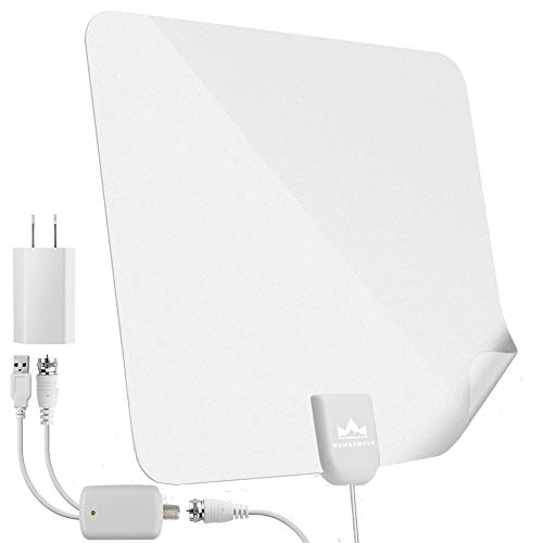 【2019 Latest】 HDTV Antenna Indoor Digital TV Antenna, Dumsamker 60-80 Miles Range HD Antenna with Amplifier Signal Booster and 13FT Coaxial Cable - Extremely High Reception(White)