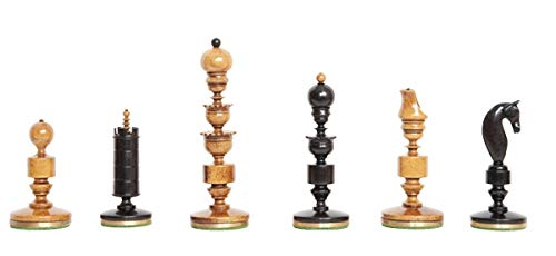 """The House of Staunton The Biedermeier Vintage Luxury Chess Set - Pieces Only - 4.4"""" King - Genuine Ebony and Antiqued Boxwood"""