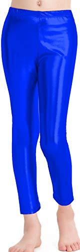 speerise Girls Kids High Waisted Shiny Metallic Dance Fashion Leggings, Royal Blue, 8-10