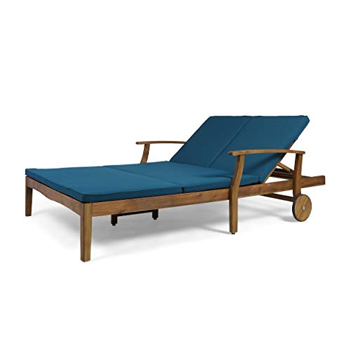 Christopher Knight Home Perla Outdoor Acacia Wood Double Chaise Lounge by Teak Finish + Blue