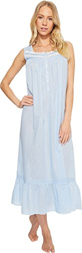 Eileen West Women's Cotton Rich Sheer Stripe Ballet Nightgown Solid Light Delphinium Sheer Stripe Medium