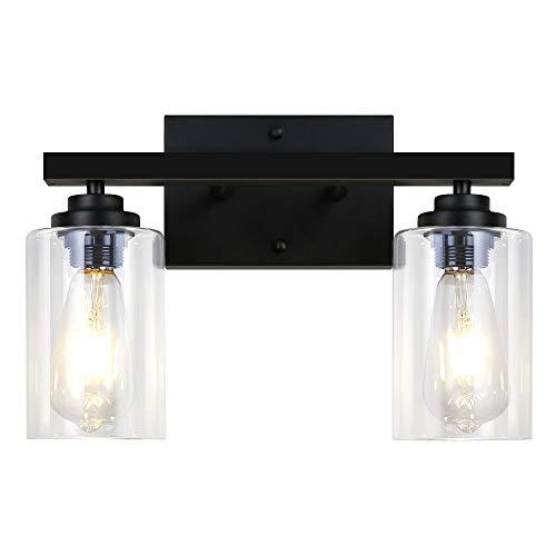 LynPon Wandlampen 2-Lichts Glazen Wandlamp Zwart Vintage Industriële Badkamer Vanity Wandkandelaar Binnenverlichting