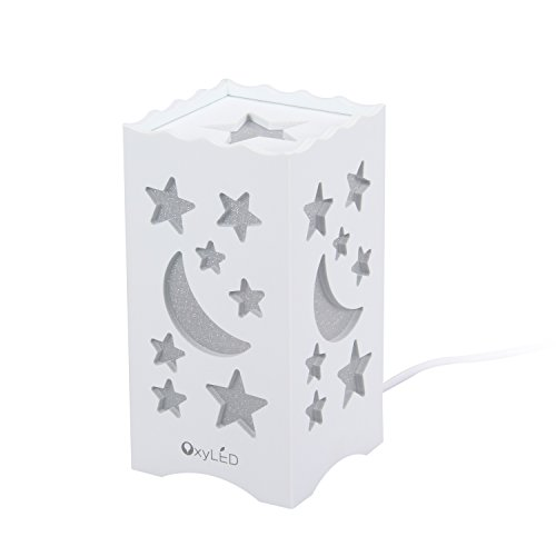 OxyLED Child Bedside Lamp, Moon & Star Shaped Night-Light, 5W Warm White Decoration Lamp for Baby Kids Children – White, BN20 Review