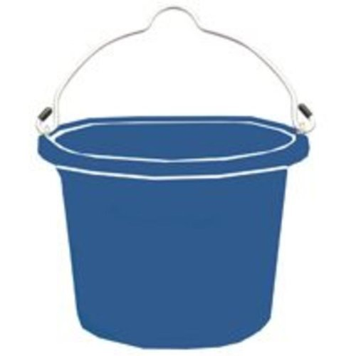 Fortiflex Flat Back Feed Bucket for Dogs/Cats and Small Animals, 8-Quart, Blue
