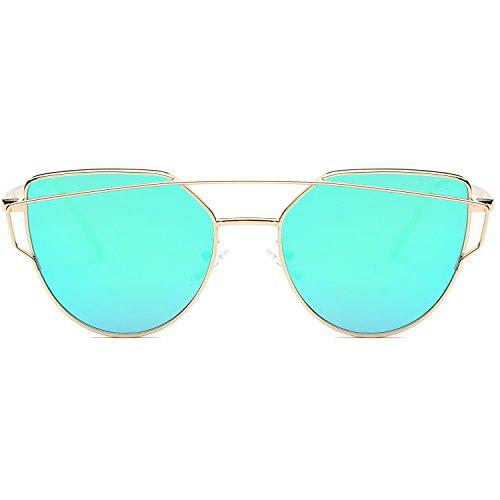 SOJOS Cat Eye Mirrored Flat Lenses Street Fashion Metal Frame Women Sunglasses SJ1001 with Gold Frame/Green Mirrored Lens (In Cat Eye Sun Glasses)