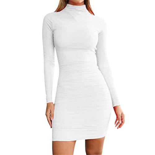 TIFENNY Women's Winter Bottoming Dress Tops Turtleneck Casual Long Sleeve Sexy Party Slim Skinny Mini Dress
