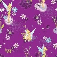 Great for Quilting, Sewing, Craft Projects, Quilts, Throw Pillows /& More Disney Tinerbell on Spot Tinkerbell on Violet background 100/% Cotton Fabric 1 Yard X 44 Wide