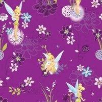 excellent pour le matelassage, la couture, les projets dartisanat, les couettes, les oreillers et plus 1 m x 112 cm de large Disney Tinerbell on Spot Fée Clochette sur fond violet 100% coton