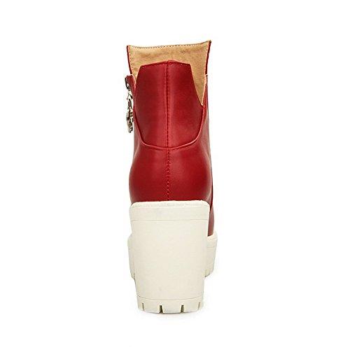 Absatzstiefel AgooLar Rot festem PU Niedrige Damen Spitze aus Geschlossene runde FUzAqXU
