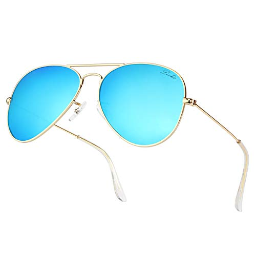 Aviator Large Metal Sunglasses - LIVHO Classic Aviator Sunglasses for Women Men Polarized,Metal Frame Mirror UV Lens Protection(Gold Deep Blue, 58)