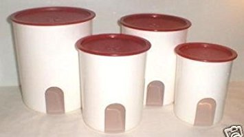 Tupperware Canister Set - Tupperware One Touch Reminder Canister Set Red Seal