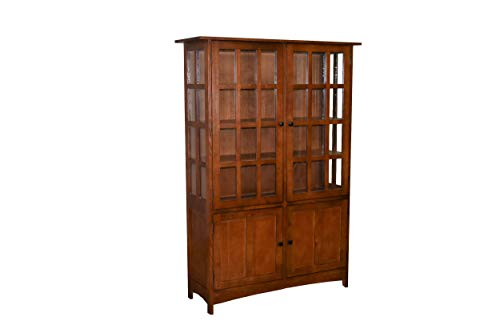 Curio Cabinet Hutch (Crafters and Weavers Mission Solid Quarter Sawn Oak China Cabinet - Golden Brown)