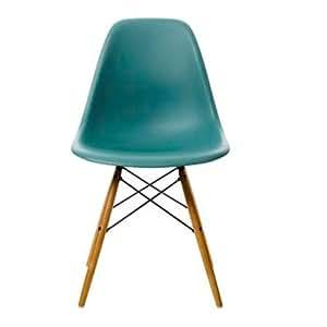 Vitra 44002300022105 DSW - Silla de plástico con patas de arce, color azul verdoso