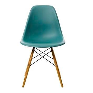 vitra 44002300022105 chaise design dsw eames plastic sidechair en plastique avec pieds en rable ocan - Chaise Design Plastique