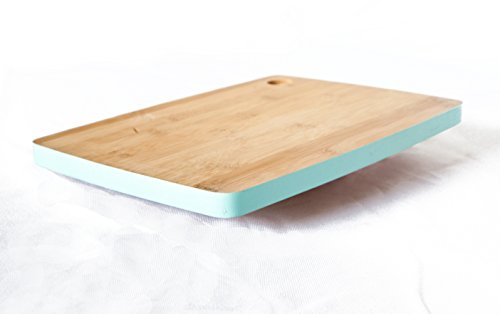 Natural Bamboo Wood Cutting Board with Teal Border. Brings simple elegance to your kitchen. Small-medium size. Cut Out…