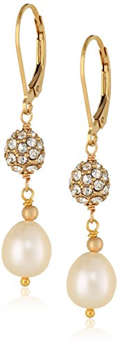 Pave and White Rice Freshwater Cultured Pearl Gold over Silver Drop Earrings