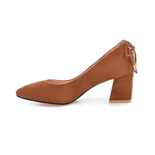 Carolbar Femme Bout Pointu Bowknots Bureau Dame Mi-talon Pompes Chaussures Jaune-brun