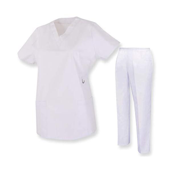 MISEMIYA Casaca Y Pantalón Unisex Uniformes Sanitarios Médicos Enfermera Dentistas Camisa de utilidades de Trabajo Adulto 1