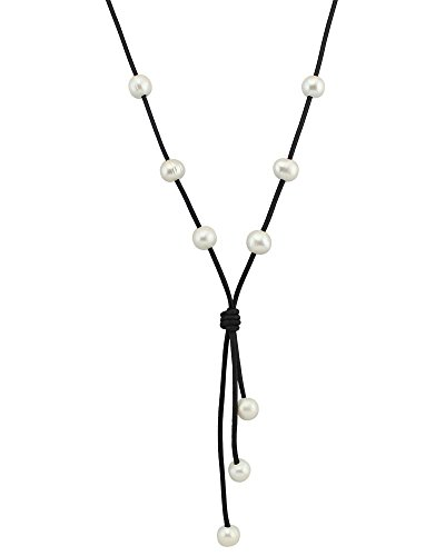 Shaped Cultured Pearl (Women's Long Cultured Freshwater Pearl and Leather Cord Necklace with Pendant Y-shaped Jewelry)