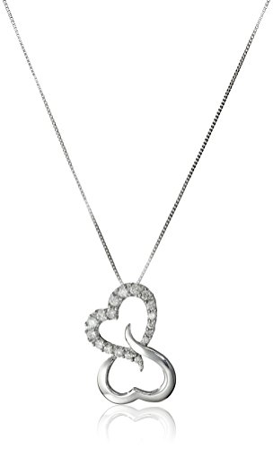 10k White Gold Open Heart Diamond Pendant Necklace (1/7 cttw, H-I Color, I1-I2 Clarity), 18""